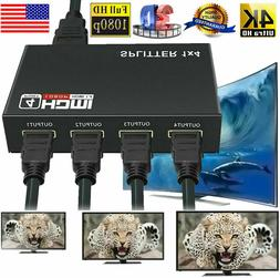 1 in 4 out Full HD HDMI Splitter 1X4 4 Port Hub Repeater Amp