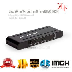 1X4 Full HD HDMI Splitter 4 Port Hub Repeater Amplifier v1.4