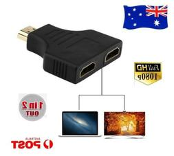 HDMI Male to Dual Female Jack 1 In 2 Out Splitter Adapter Au