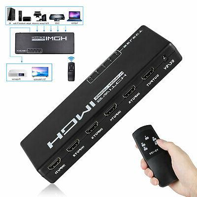 5 port hdmi switch selector switcher splitter