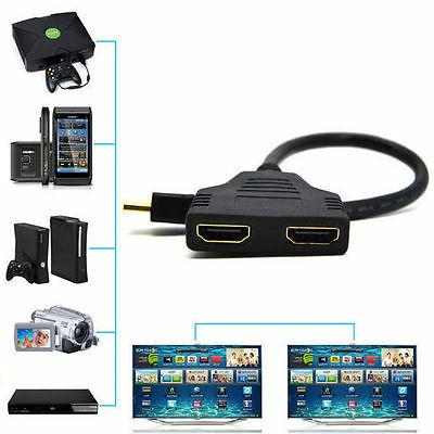 1080P Port to 2Female 1 2 Out Cable Adapter Converter Home