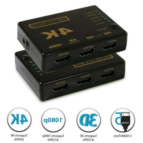 5 HDMI Splitter Switcher 5 In Out Hub Auto 1080P CL