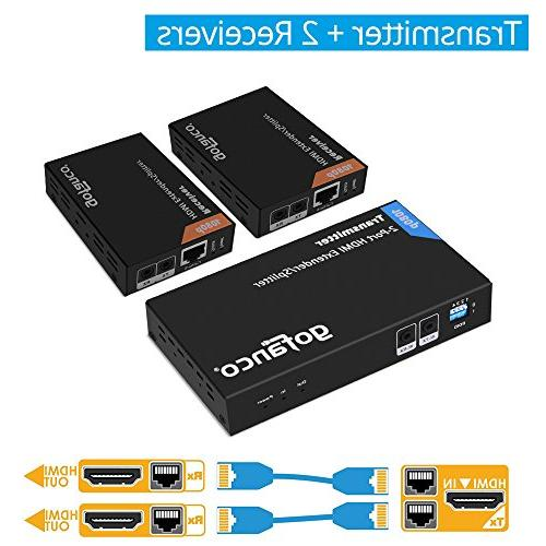 gofanco Prophecy 1080p 2 Splitter over CAT5e/CAT6/CAT7 cable with HDMI Loopout Bi-directional remote control