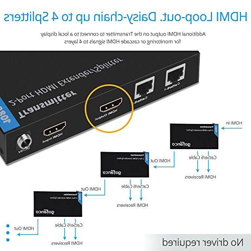 gofanco Prophecy 1x2 2 port HDMI Extender Splitter CAT5e/CAT6/CAT7 cable an Loopout Bi-directional remote - to