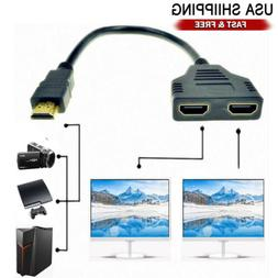 New 1X HDMI Male to 2X HDMI Female Y Splitter Switch Adapter