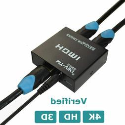 New 4K hdmi Splitter 1 in 2 out 1x2 Dual Monitor For Satelli