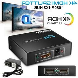 Ultra HD 4K 2 Port HDMI Splitter 1×2 Repeater Amplifier 3D